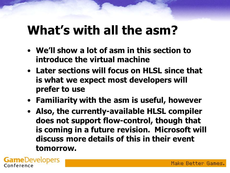 What's with all the asm We'll show a lot of asm in this section to introduce the virtual machine.