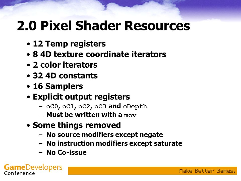 2.0 Pixel Shader Resources