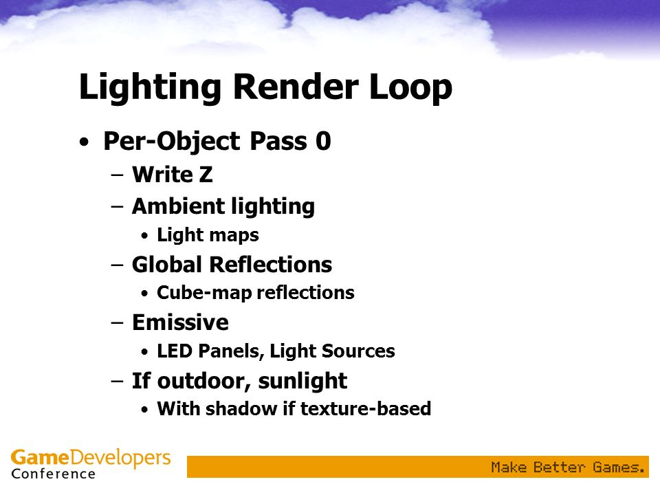 Lighting Render Loop Per-Object Pass 0 Write Z Ambient lighting