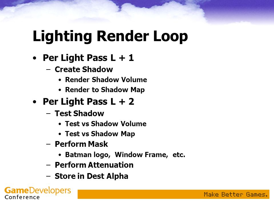 Lighting Render Loop Per Light Pass L + 1 Per Light Pass L + 2