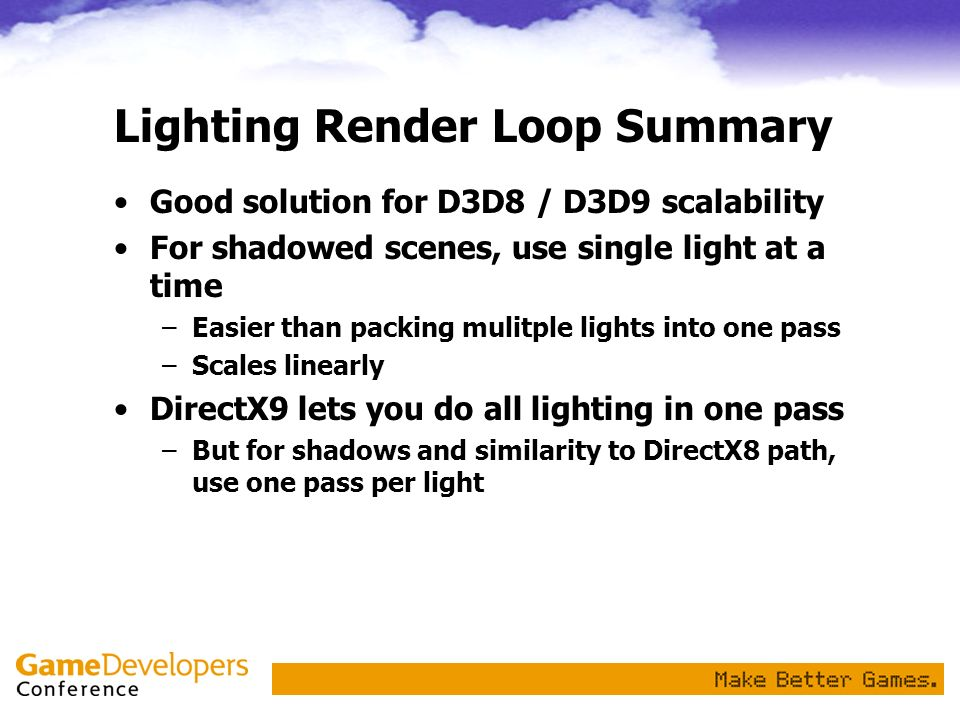 Lighting Render Loop Summary