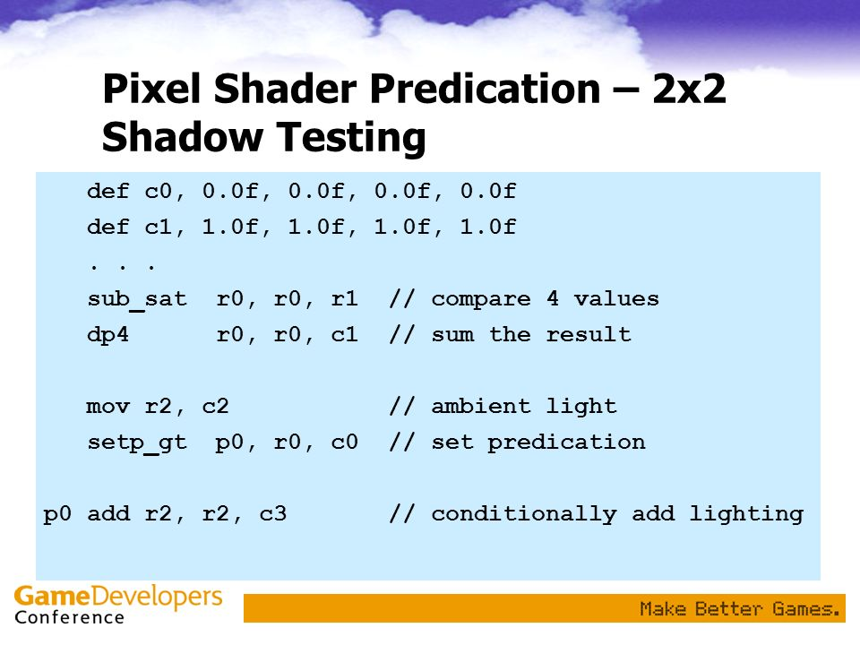 Pixel Shader Predication – 2x2 Shadow Testing