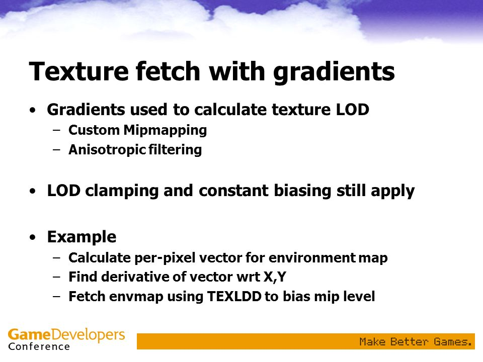 Texture fetch with gradients