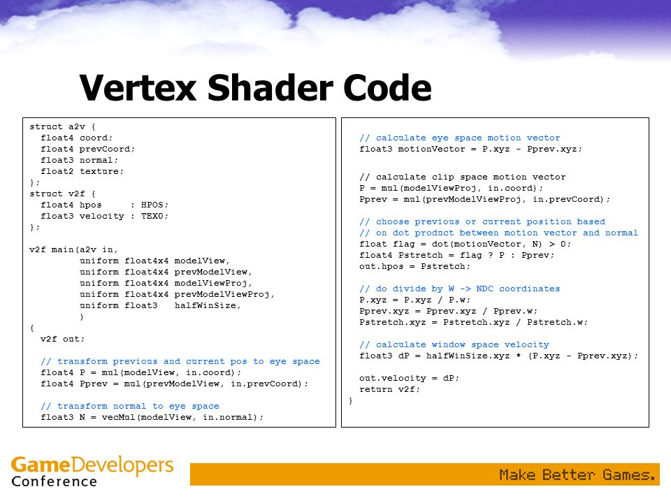 Vertex Shader Code