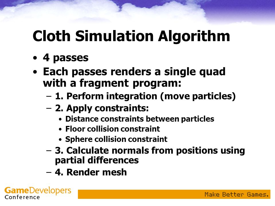 Cloth Simulation Algorithm
