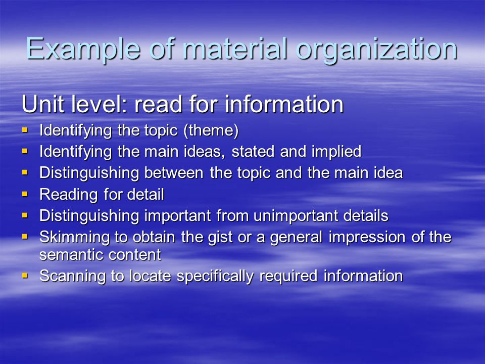 Example of material organization