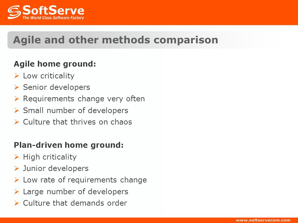 Agile and other methods comparison