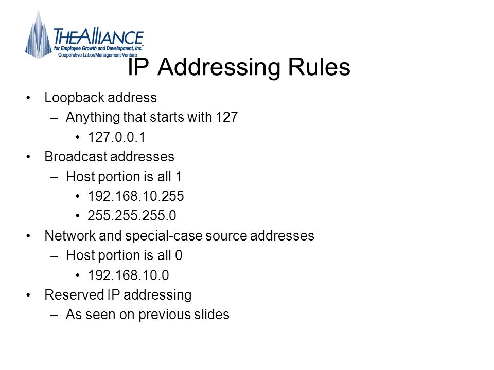 IP Addressing Rules Loopback address Anything that starts with 127