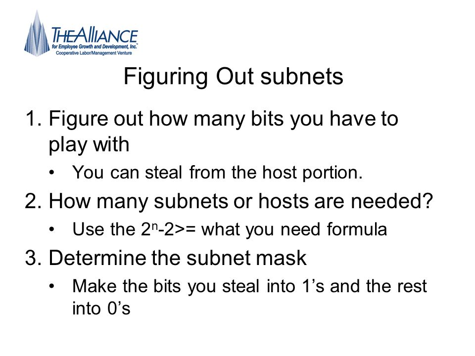 Figuring Out subnets Figure out how many bits you have to play with