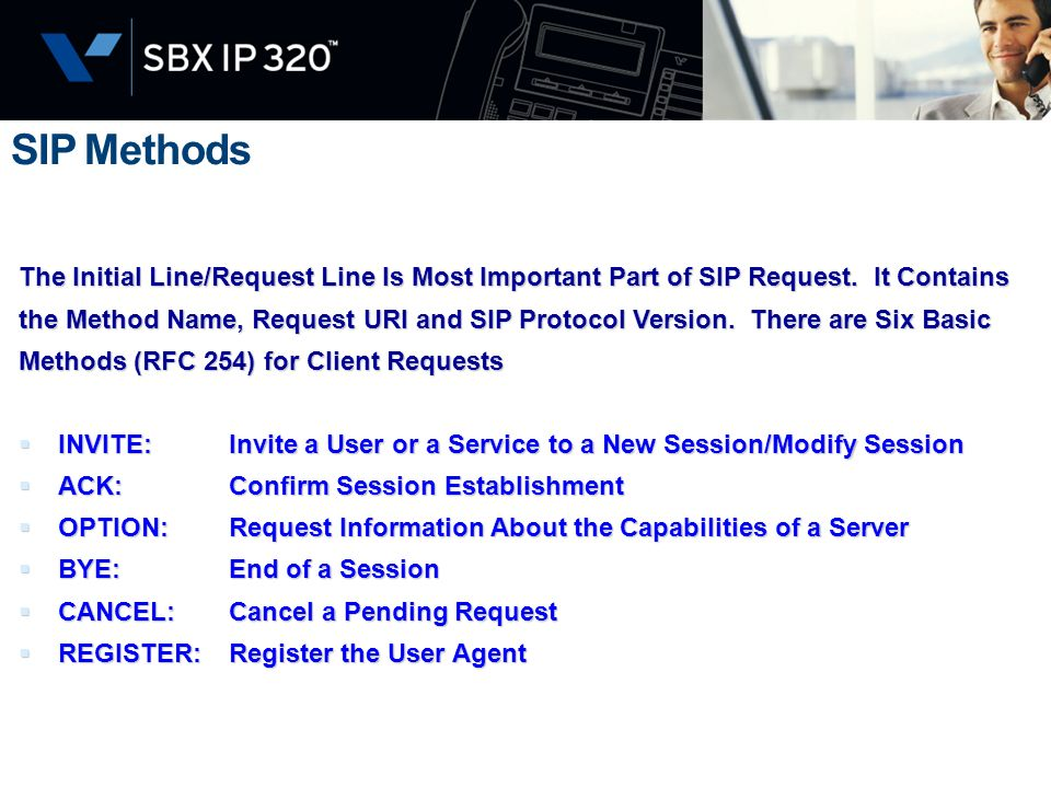 SIP Methods The Initial Line/Request Line Is Most Important Part of SIP Request. It Contains.