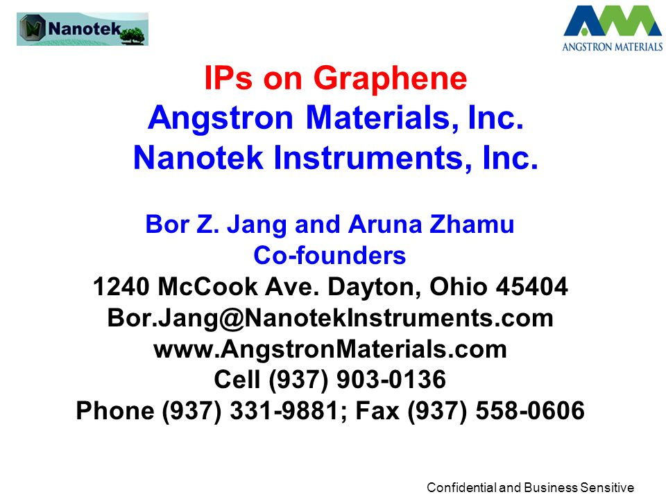 IPs on Graphene Angstron Materials, Inc. Nanotek Instruments, Inc.