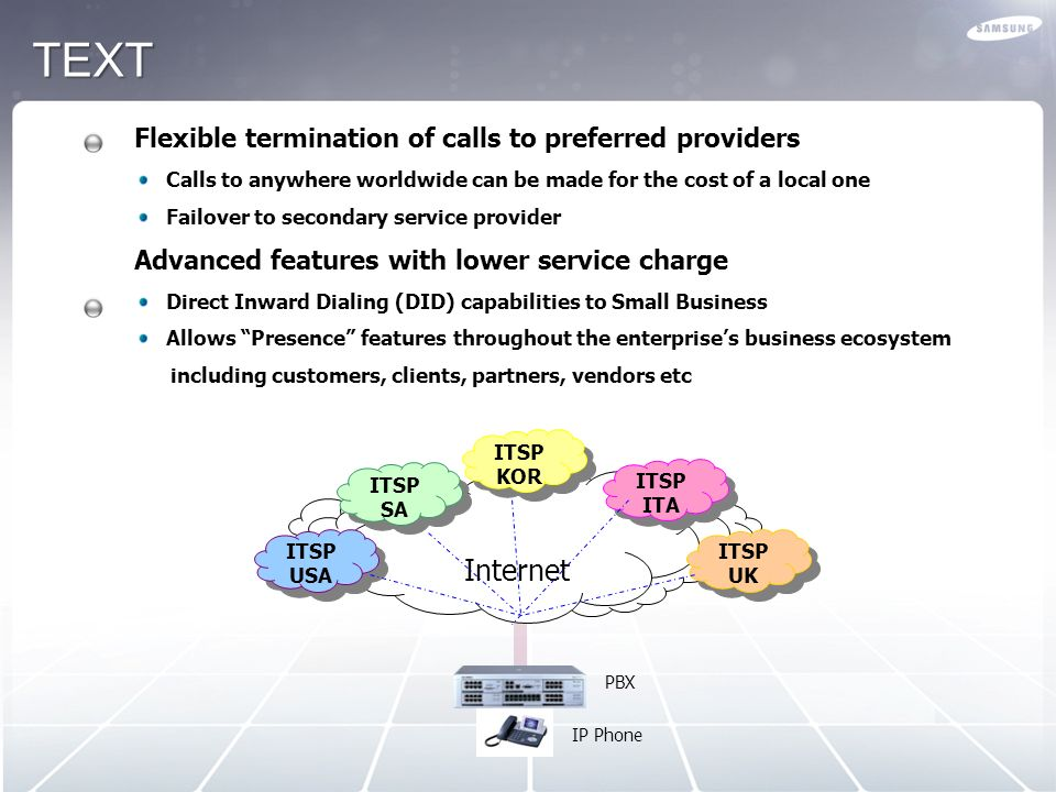 TEXT Internet Flexible termination of calls to preferred providers