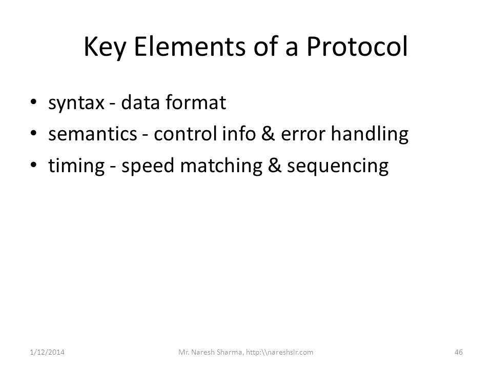 Key Elements of a Protocol