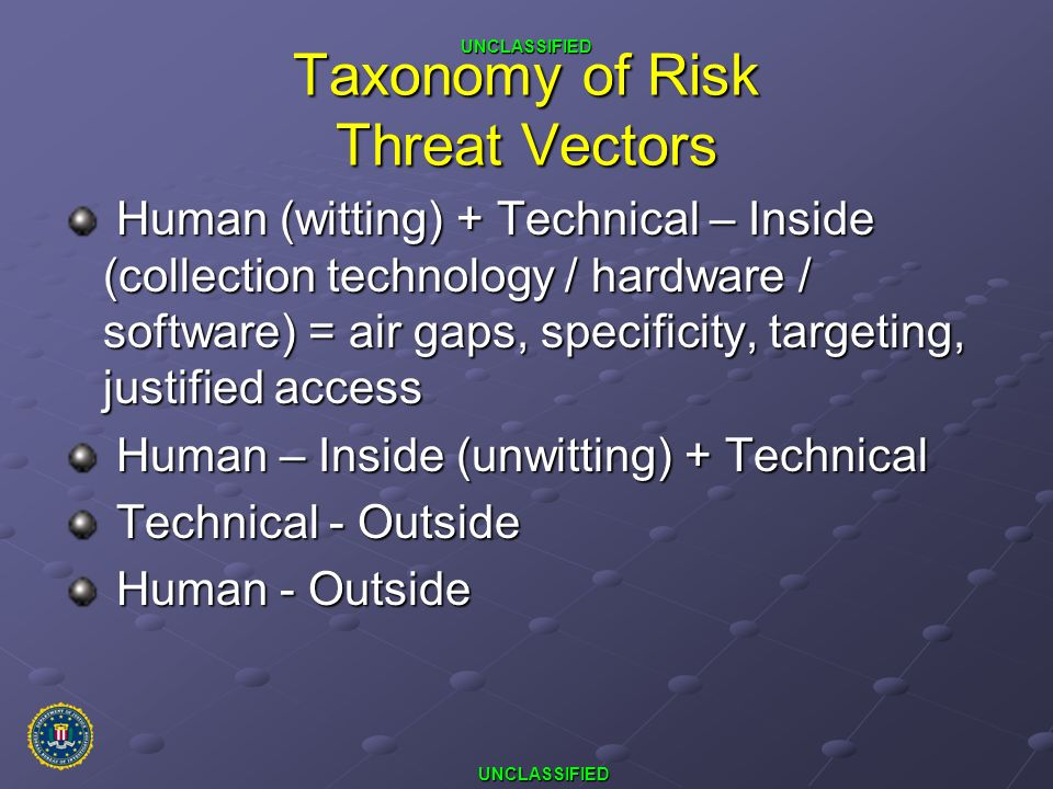Taxonomy of Risk Threat Vectors