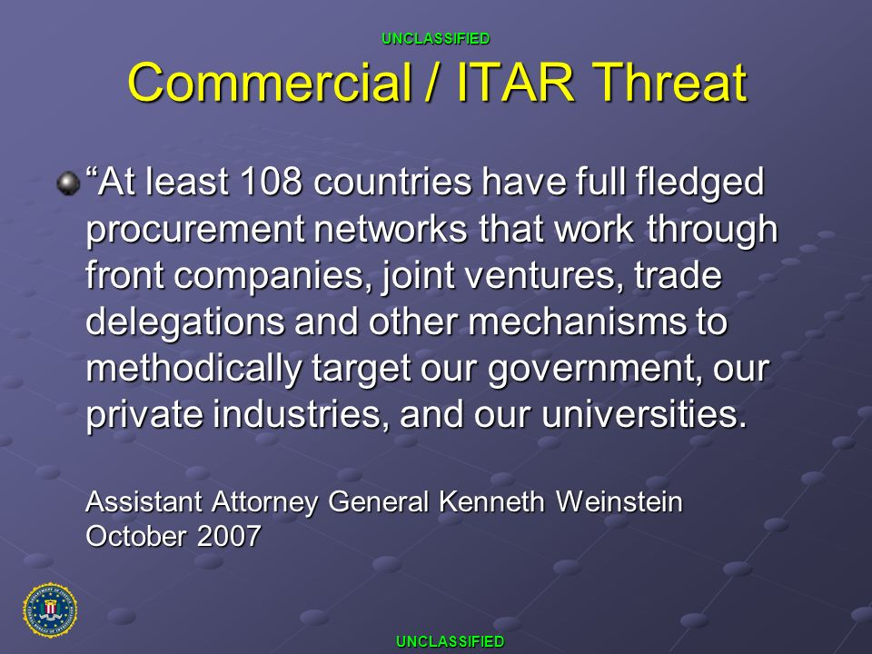 Commercial / ITAR Threat