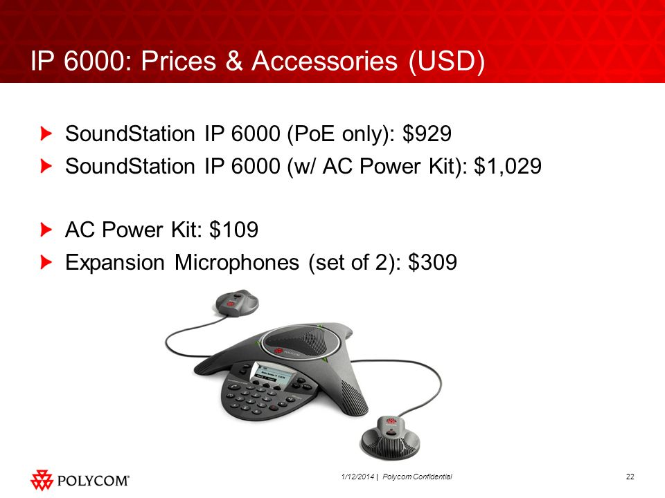 IP 6000: Prices & Accessories (USD)