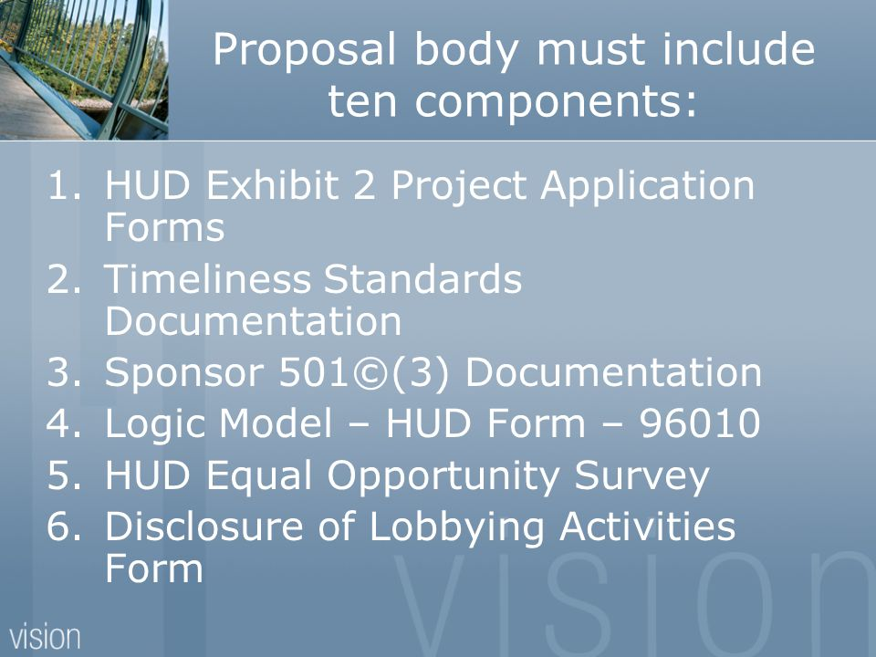 Proposal body must include ten components: