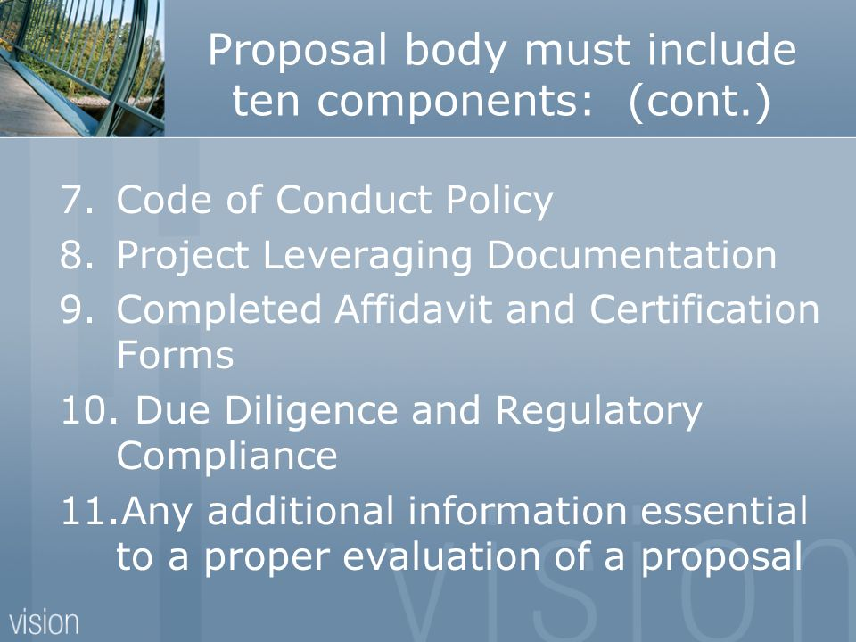 Proposal body must include ten components: (cont.)