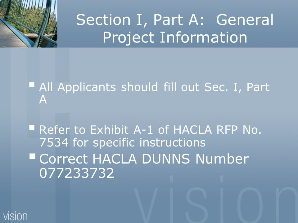 Section I, Part A: General Project Information