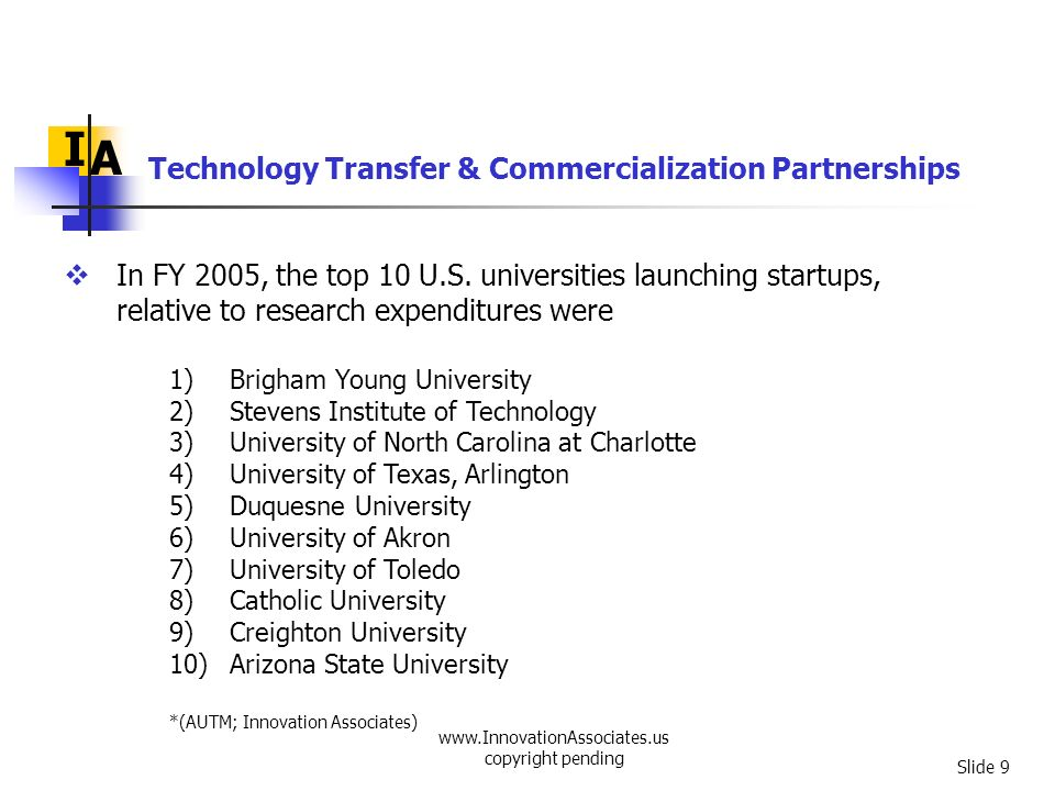 Technology Transfer & Commercialization Partnerships