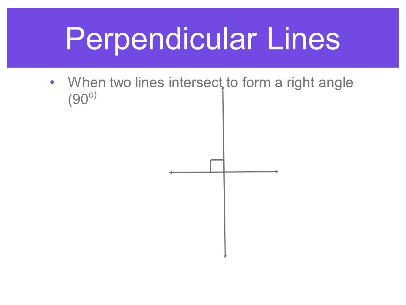 Perpendicular Lines When two lines intersect to form a right angle (90o)