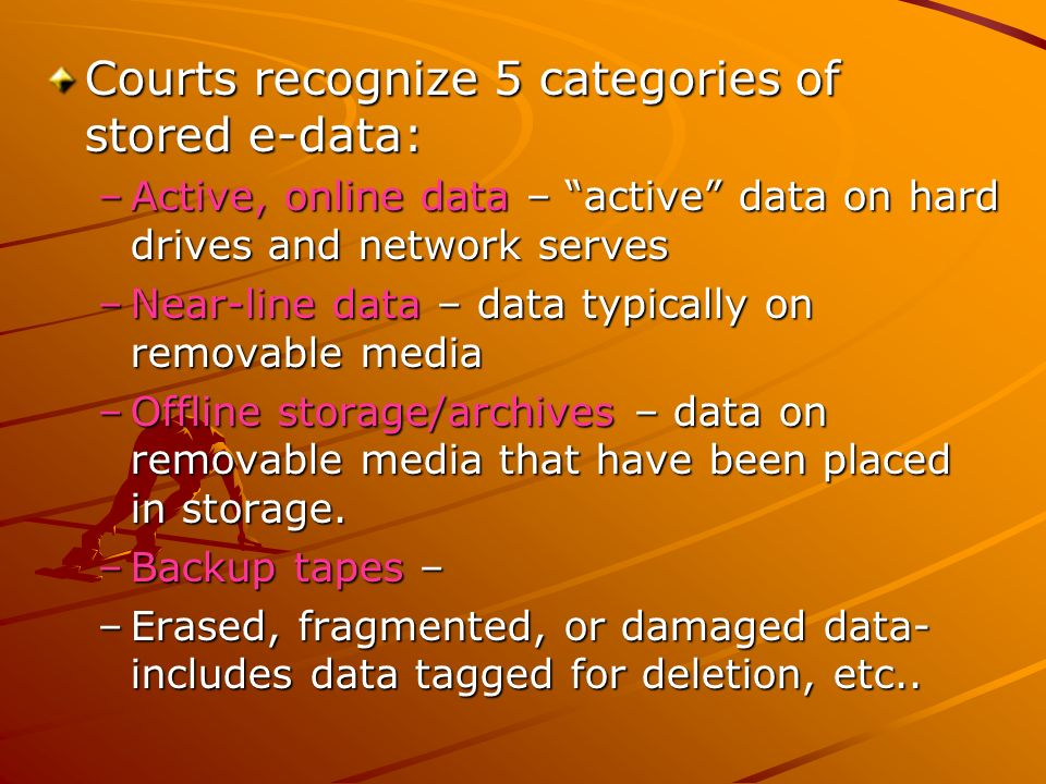 Courts recognize 5 categories of stored e-data: