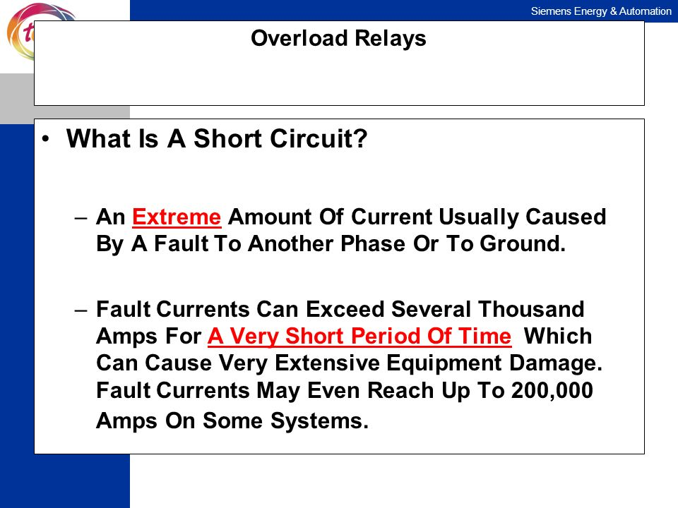 What Is A Short Circuit Overload Relays