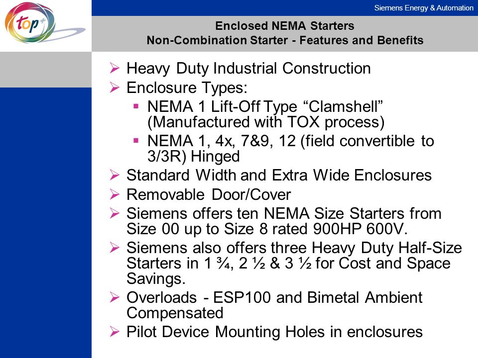 Enclosed NEMA Starters Non-Combination Starter - Features and Benefits