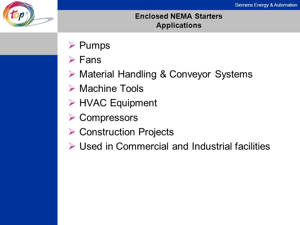 Enclosed NEMA Starters Applications