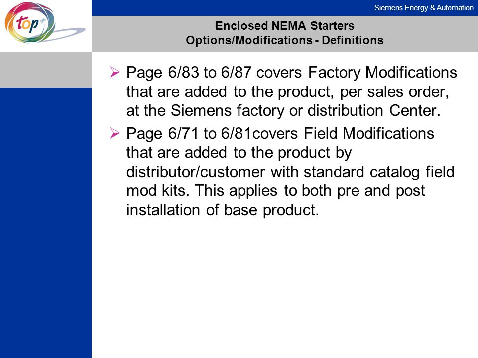Enclosed NEMA Starters Options/Modifications - Definitions