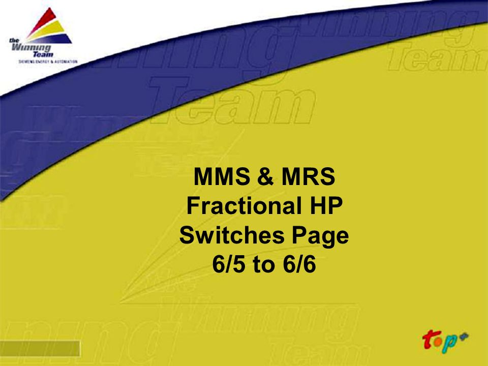 MMS & MRS Fractional HP Switches Page 6/5 to 6/6