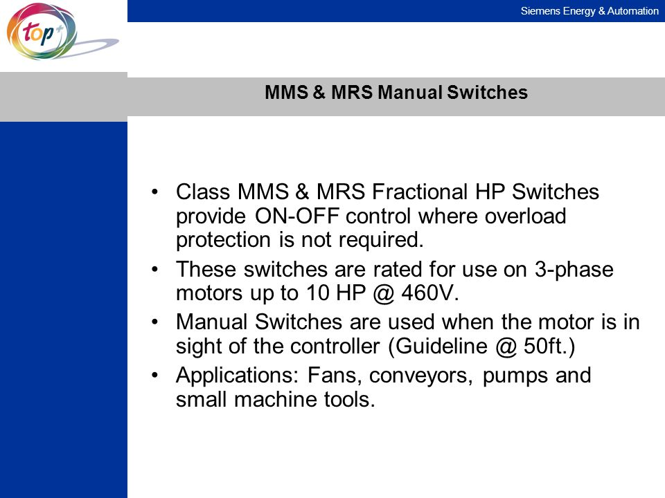 MMS & MRS Manual Switches