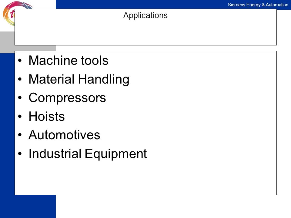 Machine tools Material Handling Compressors Hoists Automotives