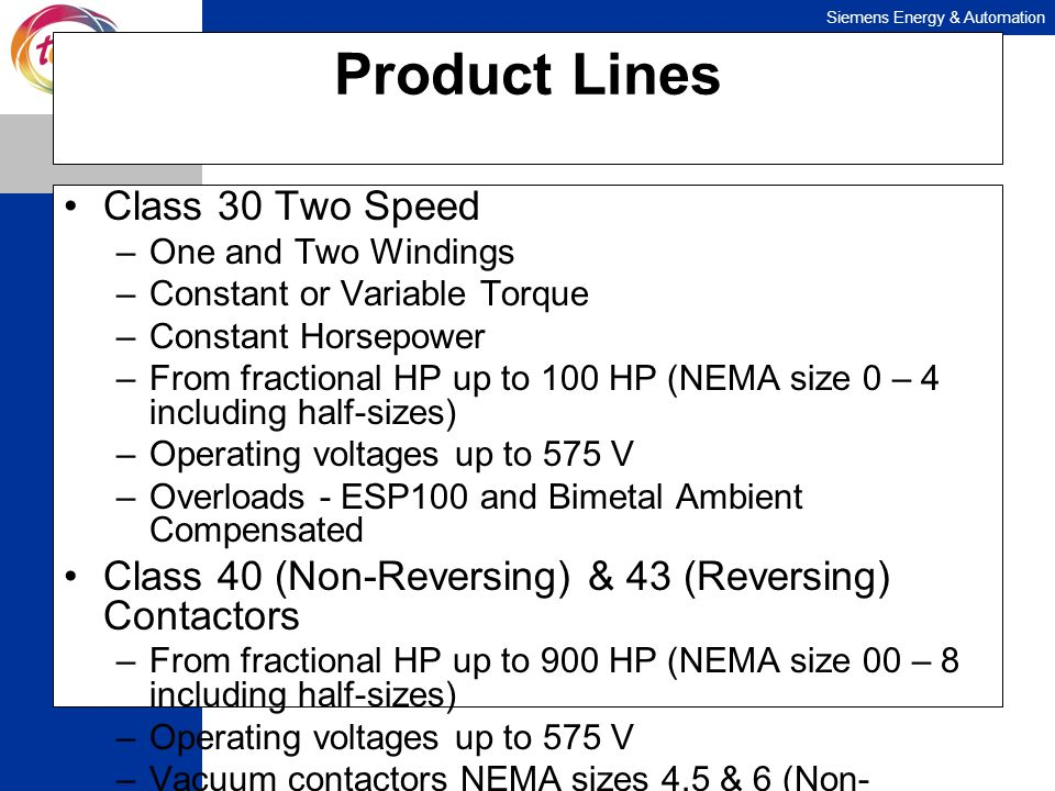 Product Lines Class 30 Two Speed
