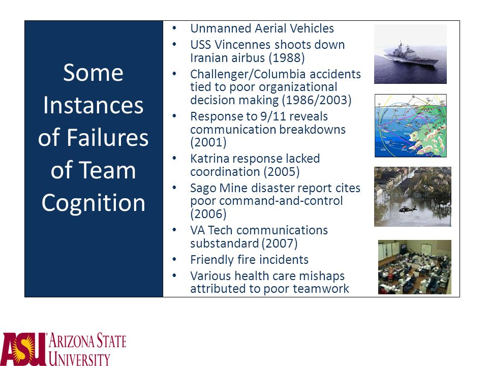 Some Instances of Failures of Team Cognition