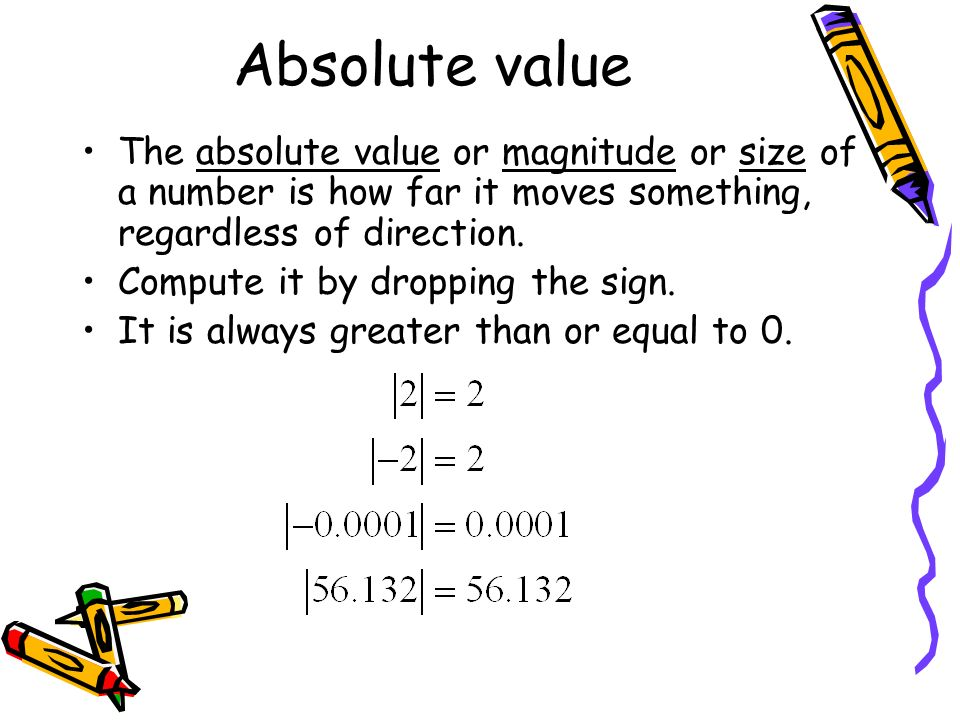Absolute value The absolute value or magnitude or size of a number is how far it moves something, regardless of direction.
