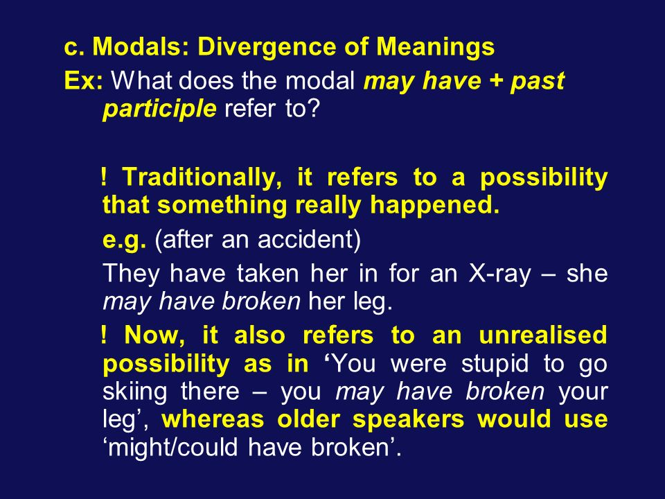 c. Modals: Divergence of Meanings