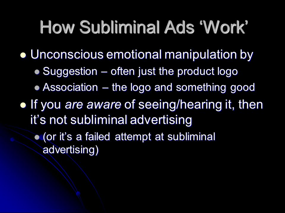 How Subliminal Ads 'Work'