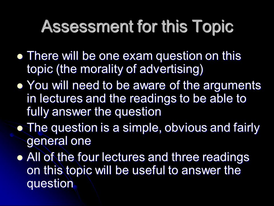 Assessment for this Topic