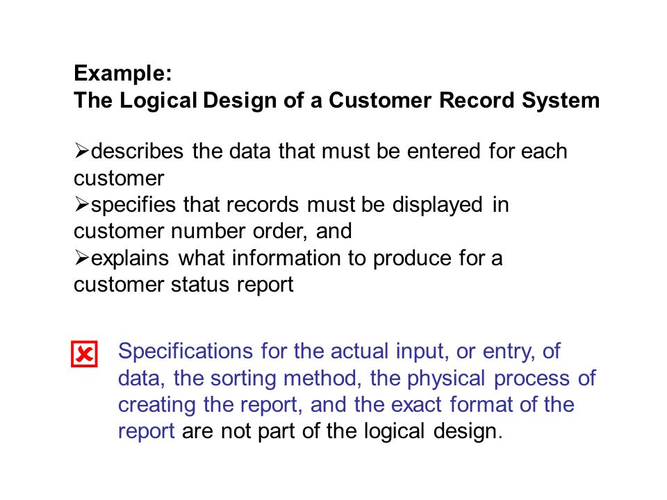 Example: The Logical Design of a Customer Record System. describes the data that must be entered for each customer.