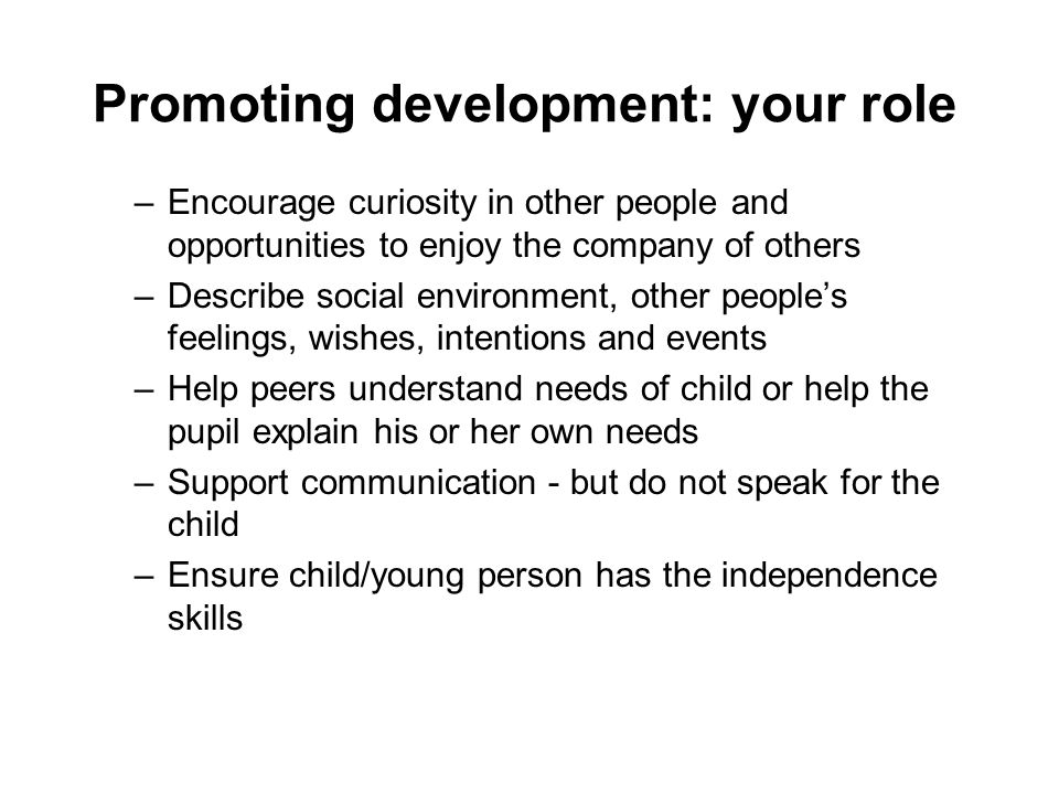 Promoting development: your role