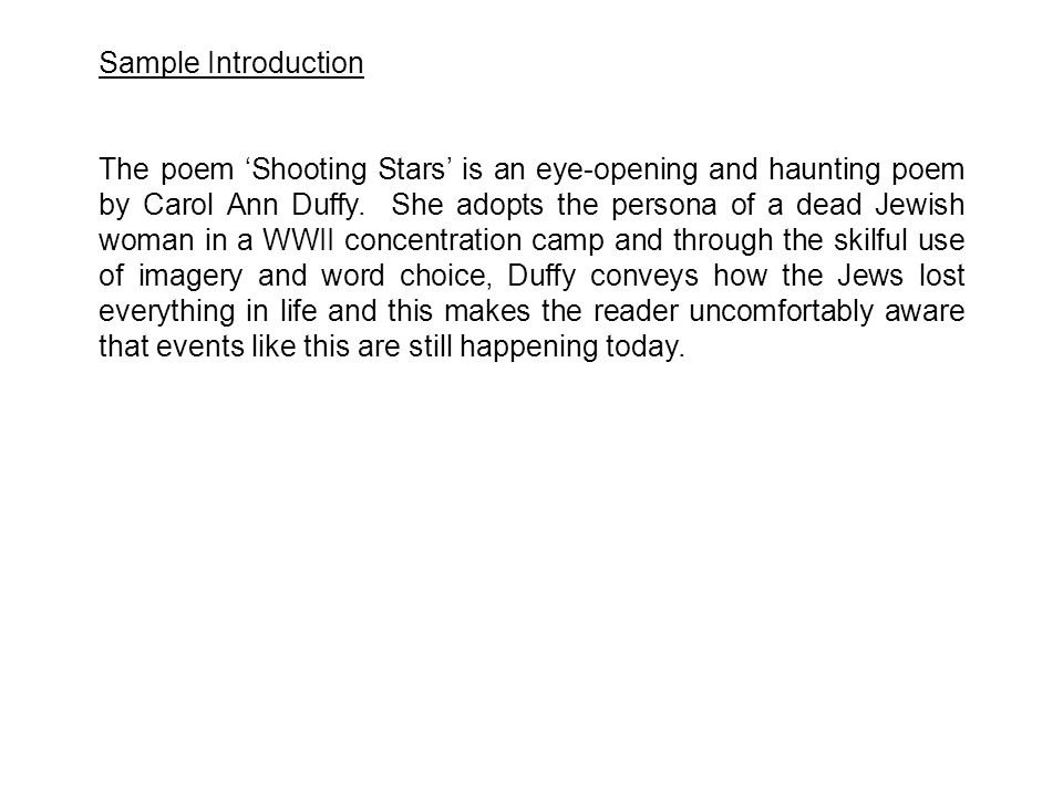 shooting stars carol ann duffy poem