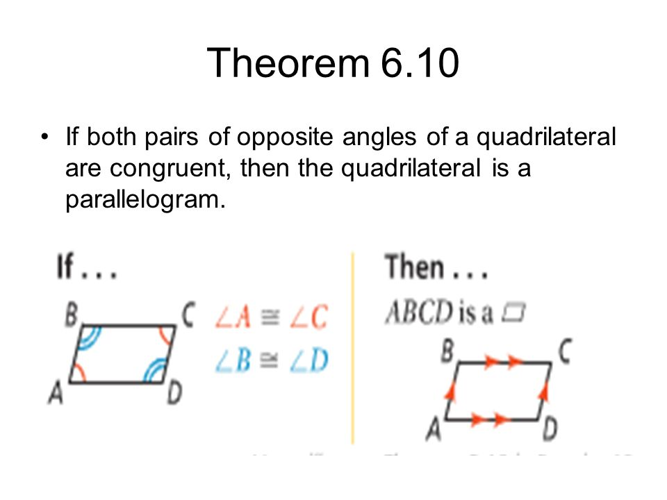 Theorem 6.10 If both pairs of opposite angles of a quadrilateral are congruent, then the quadrilateral is a parallelogram.