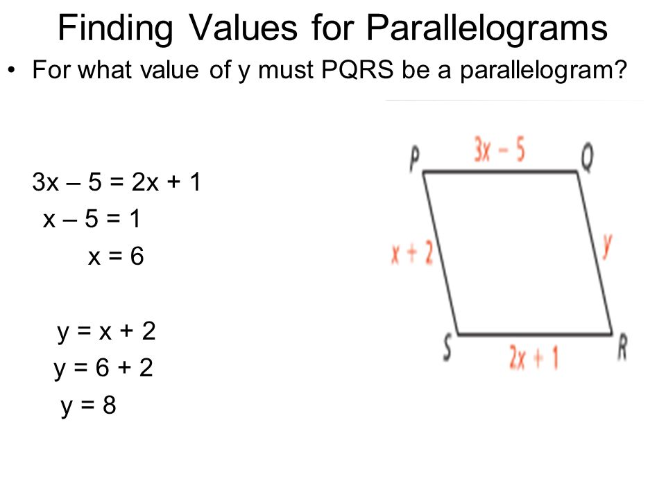 Finding Values for Parallelograms