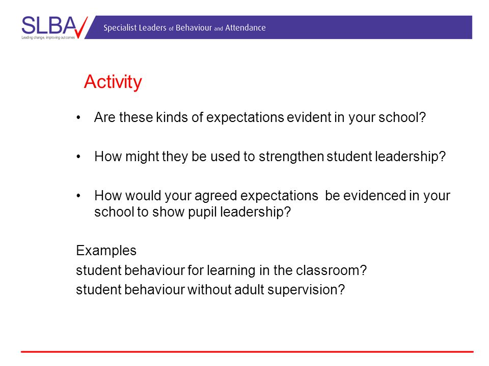 Activity Are these kinds of expectations evident in your school