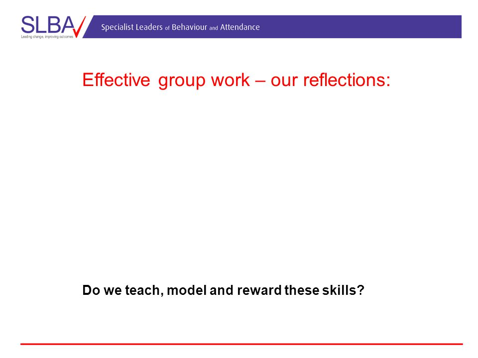 Effective group work – our reflections: