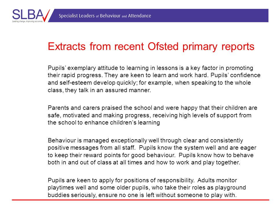 Extracts from recent Ofsted primary reports
