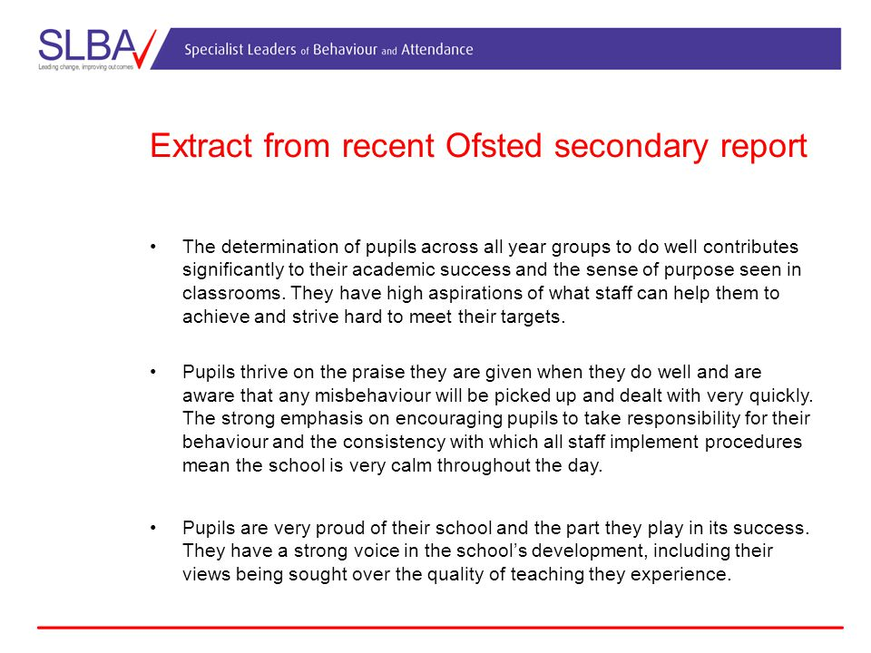 Extract from recent Ofsted secondary report