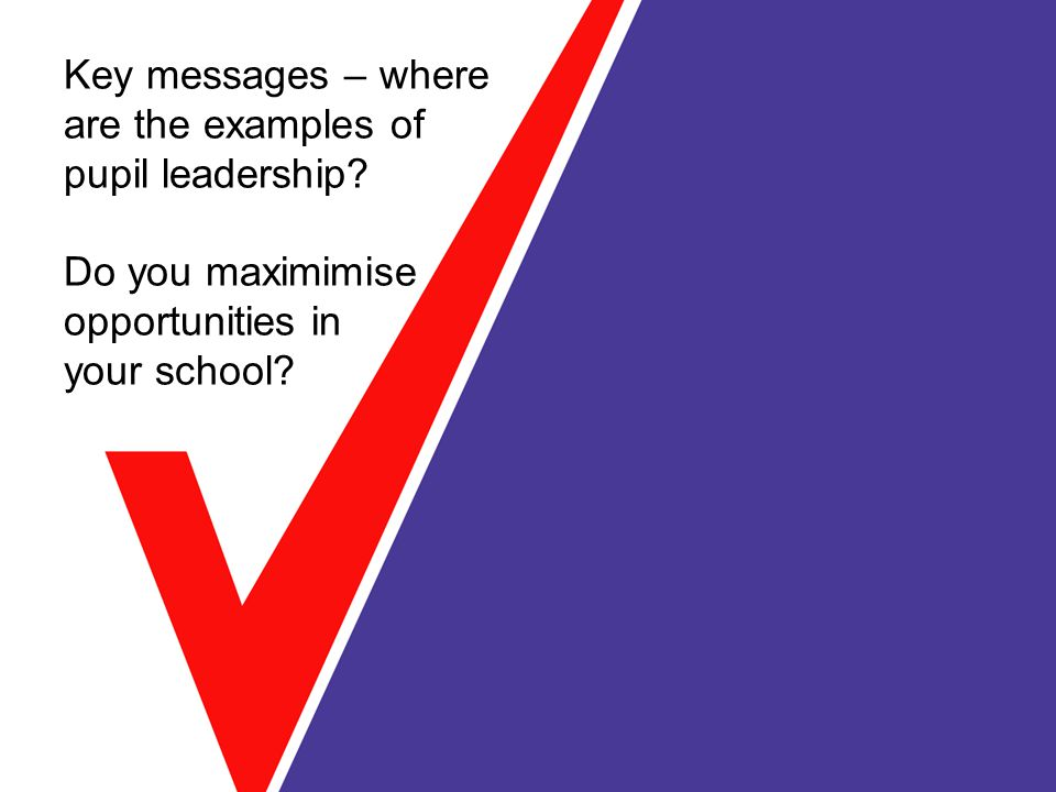 Key messages – where are the examples of pupil leadership