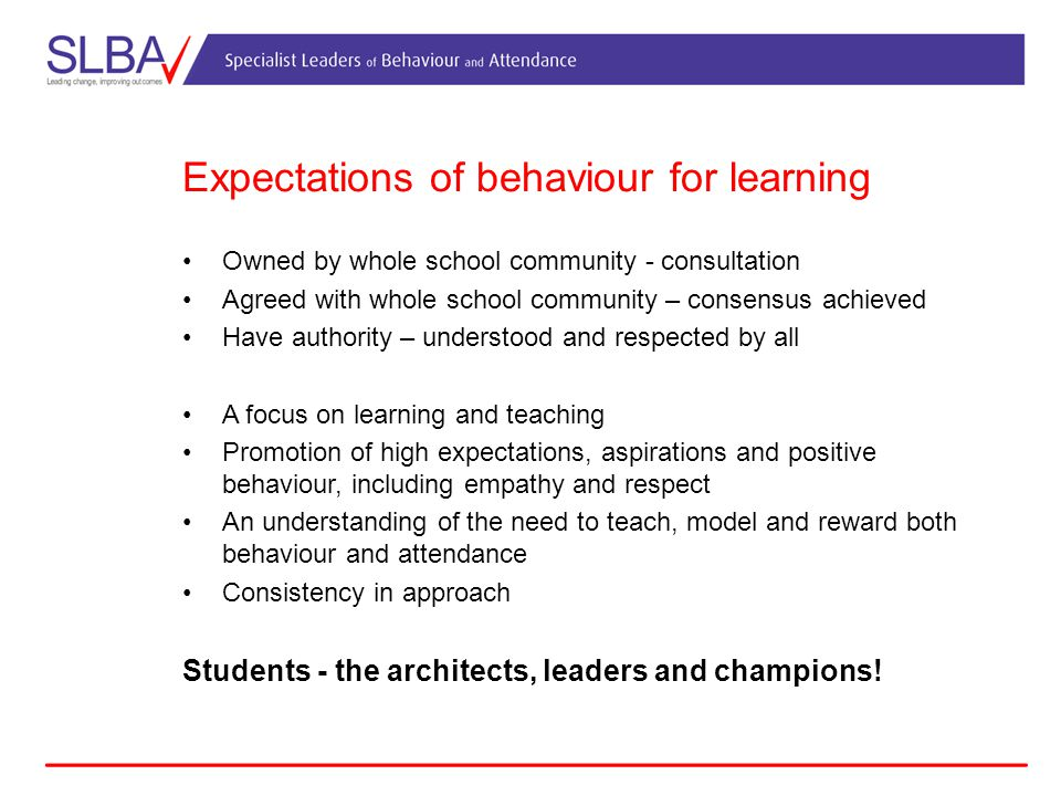 Expectations of behaviour for learning